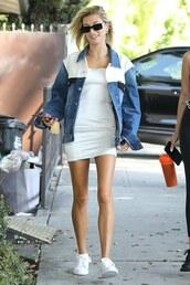 jacket,dress,white dress,white,sneakers,denim jacket,hailey baldwin,streetstyle