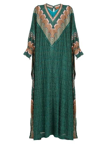Missoni gown geometric knit green dress