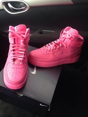 shoes,underwear,nike air force 1,high top sneakers,pink sneakers,nike,pink,nike pink airforces,pink forces,pink nike air force 1s,pink nike air force one,nike running shoes