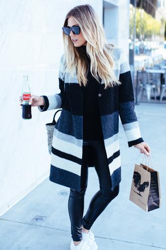 devon rachel blogger stripes striped coat grey coat wool coat leather leggings
