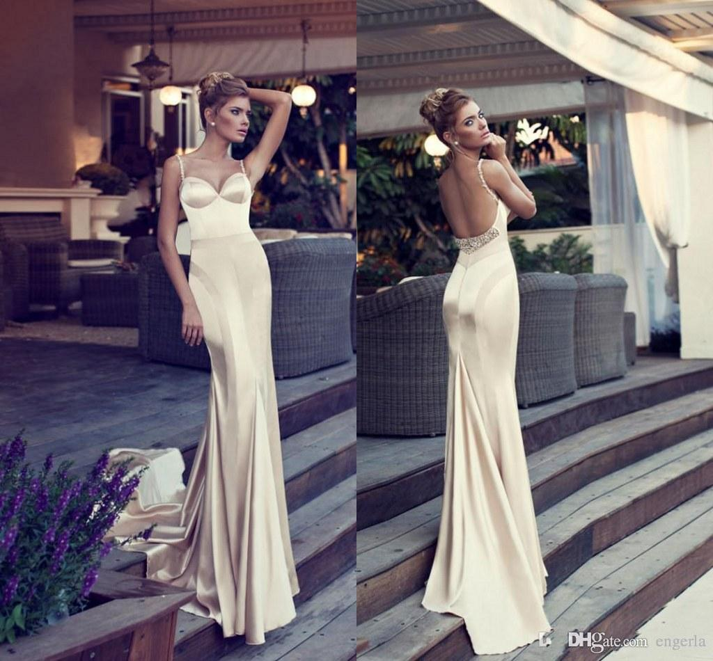Glamorous Champagne Prom Dresses 2015 Mermaid Style Spaghetti Straps