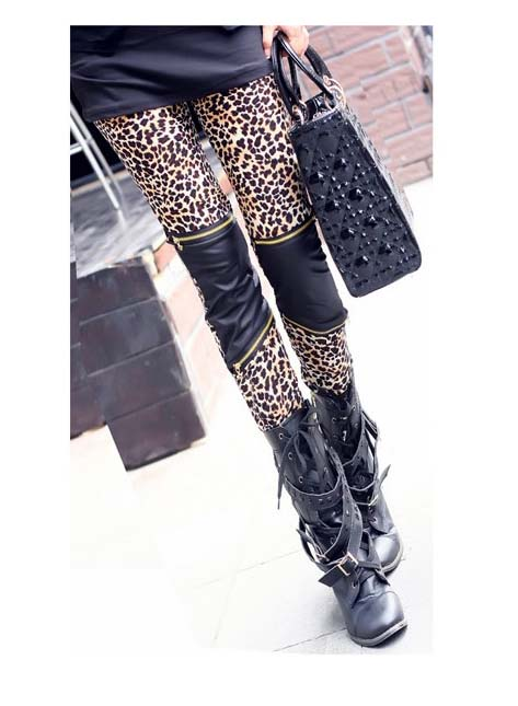 Multi Leggings/Tights - Leopard/PU Zipper Detail Skinny Leggings | UsTrendy