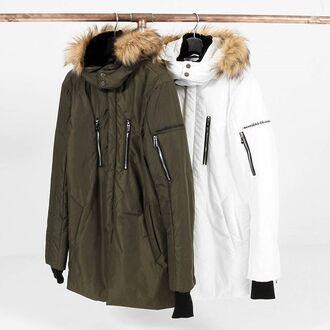 coat maniere de voir parka padded fur jacket collar removable khaki white skiing