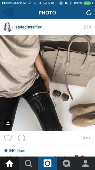 pants black leather zip jeans