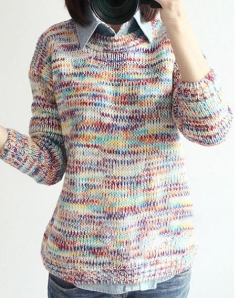 Rainbow Color Loose Sweater