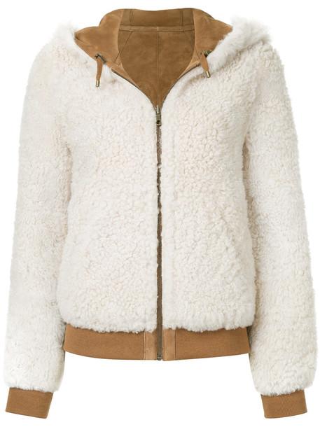 Meteo by Yves Salomon jacket shearling jacket women spandex white cotton