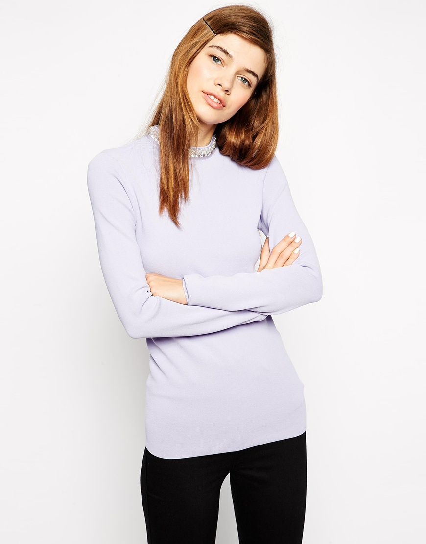 Asos jumper with high neck and embellishment at asos.com