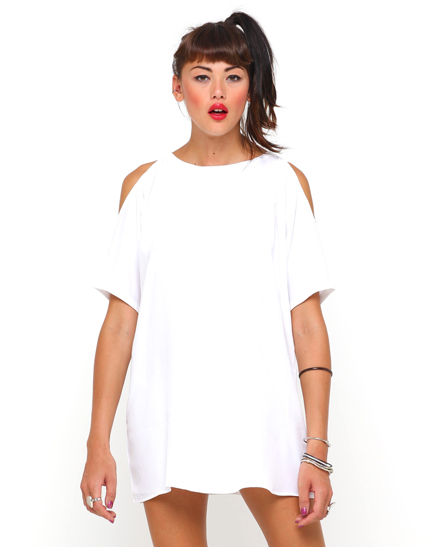 61a2e876e3e6b Buy Motel Savannah Cold Shoulder Dress in White at Motel Rocks