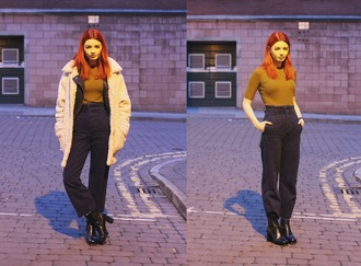 hannah louise fashion blogger coat jacket top jeans shoes