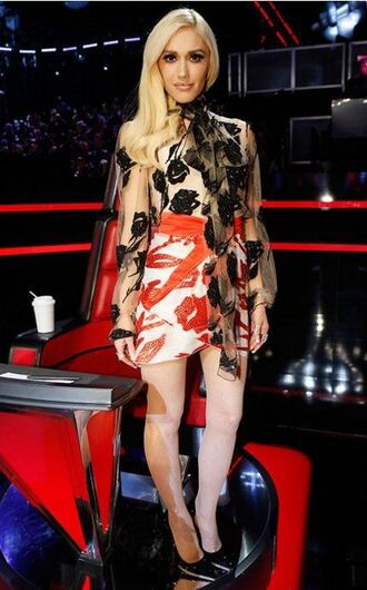 blouse skirt pumps gwen stefani see through asymmetrical skirt asymmetrical