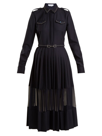 dress pleated wool navy