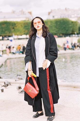 vanessa jackman blogger pants shirt bag red bag coach loafers shoulder bag