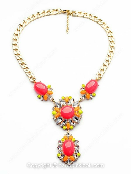 Red White Gemstone Flower Gold Chain Necklace - HandpickLook.com