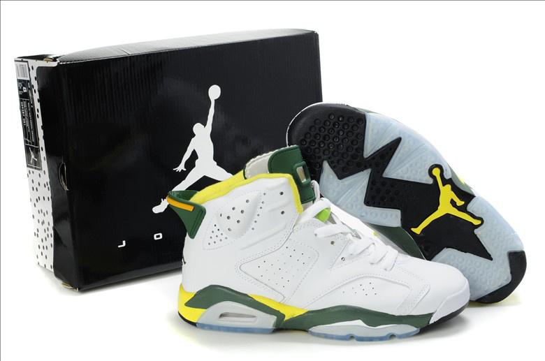 Original Air Jordan Retro 6 Olympic 2013White Yellow Dark Green 384664-133 Shoes [1JSMAJR0009] Images On Show  : - 1JordanShoesMall.com