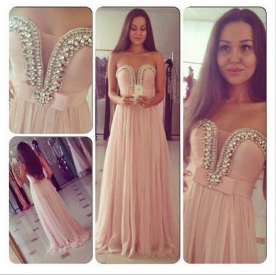 Princess sweetheart floor length chiffon pink prom dress with beaded npd098020 sale at shopindress.com