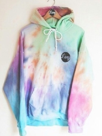 sweater pastel purple pink blue green tie dye baggy sweater tie die jacket coat hipster punk hippie summer trend orange hoodie tie die hoodie