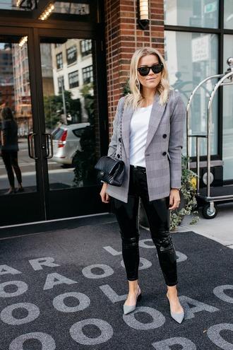 pants tumblr black pants vinyl black vinyl pants blazer grey blazer plaid plaid blazer bag sunglasses shoes