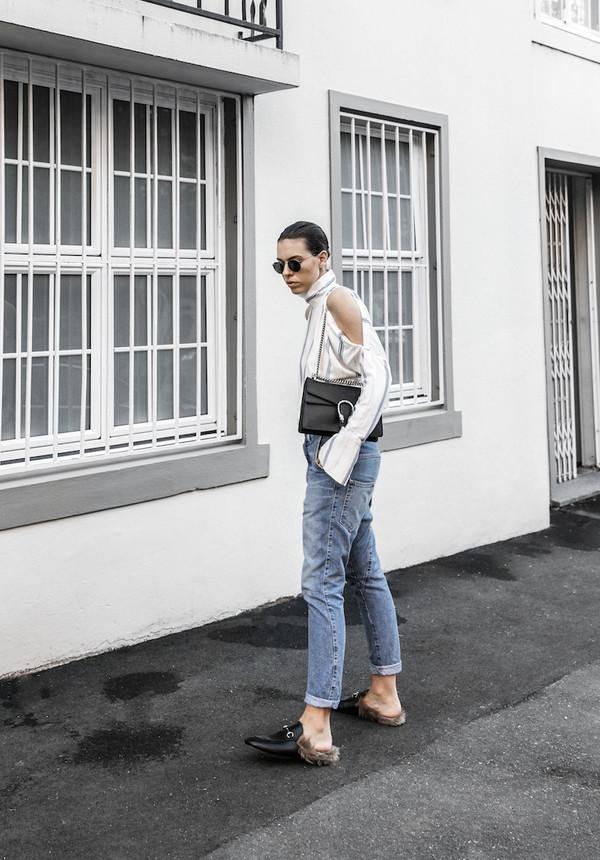 259d1f7b3 modern legacy blogger shirt jeans bag shoes sunglasses gucci princetown gucci  gucci shoes slide shoes black