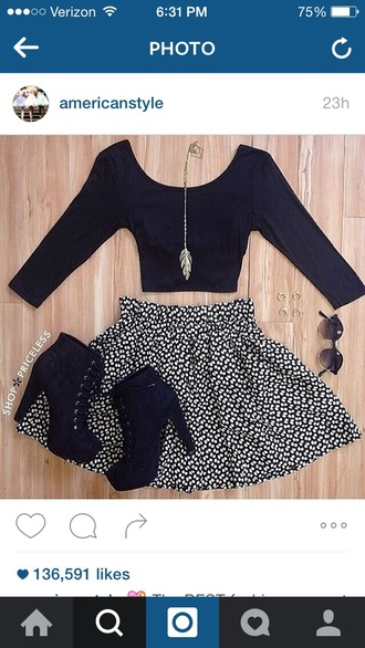 shoes cute top skirt black white boots skater skirt cute top cute outfits outfit idea outfit lace up booties black skater skirt crop tops black crop top black and white circle skirt