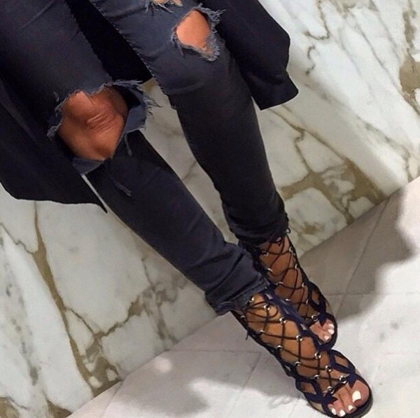 Black Lace up Sandals Asos Asos Equal Distance Lace up