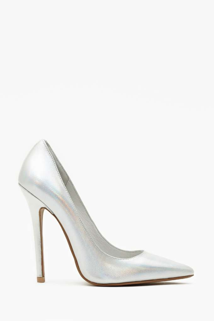 Jeffrey Campbell Darling Pump - Silver Hologram  in  Shoes at Nasty Gal