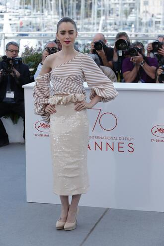 skirt midi skirt lily collins cannes top asymmetrical asymmetrical top pumps crop tops blouse stripes sequins