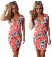 cute dress,summer outfits,summer dress,orange dress,white dress,white,floral dress,bodycon dress,mini dress,v neck dress,celebrity,party dress,beach