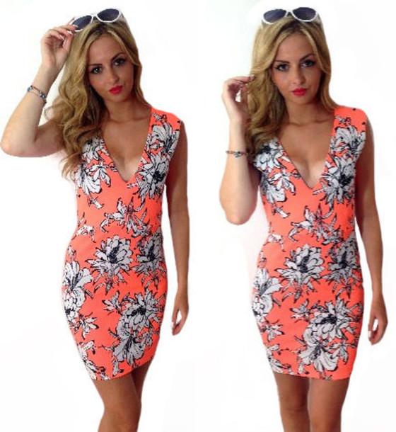 2a6dec0a90b6 cute dress summer outfits summer dress orange dress white dress white floral  dress bodycon dress mini