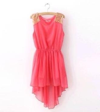 dress gold and pink dress