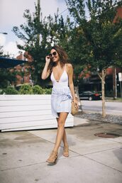 shoes,sandals,mini skirt,stripes,swimwear,sunglasses,bag