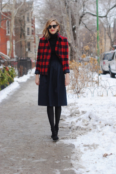 see jane blogger flannel midi skirt