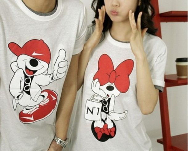 Mickey And Minnie Couples Shirts shirt white red black minnie