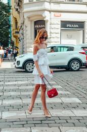 vogue haus,blogger,dress,bag,sunglasses,red bag,chanel bag,pumps,off the shoulder dress,white dress