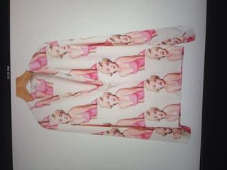 marilyn monroe black white pink shirt marilyn monroe shirt blouse barbie bold print red