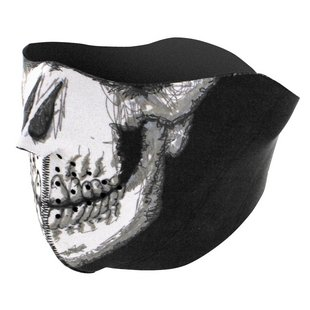 Zan's Glow in the Dark Skull Face Neoprene Half Mask - RevZilla
