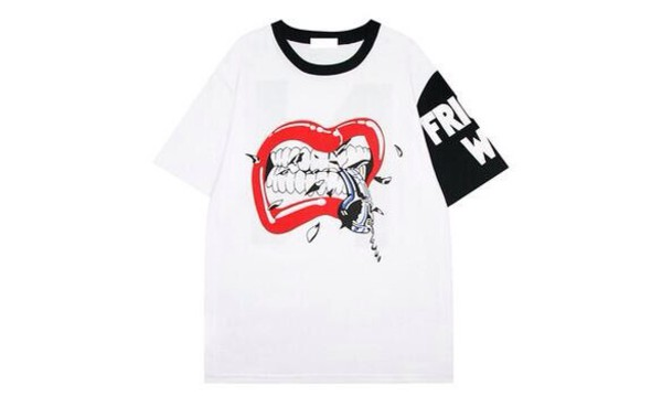 t-shirt lips red lips tshirt t-shirt kpop dope trendy white red silver swag