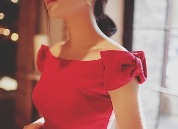 off the shoulder bow red top red dress