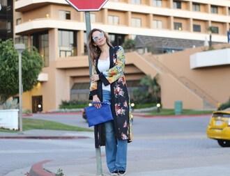 thefashionstatement blogger tank top jeans sunglasses bag shoes kimono spring outfits blue bag