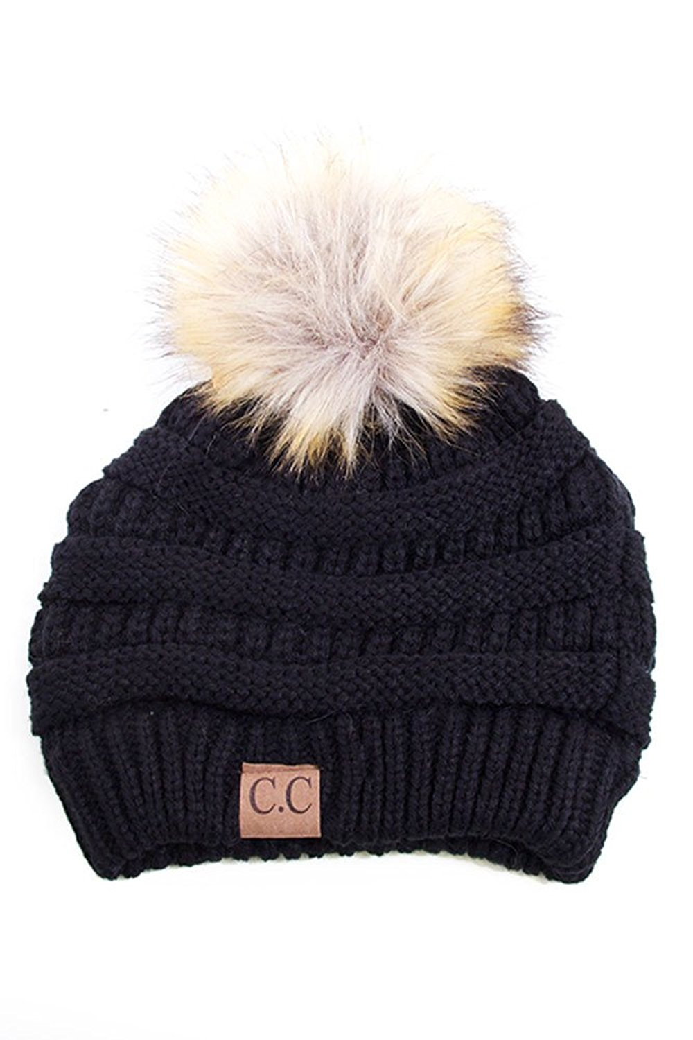 09a8018ad73d1 Soft Stretch Cable Knit Ribbed Faux Fur Pom Pom Beanie Hat (Black) at  Amazon Women's Clothing store: