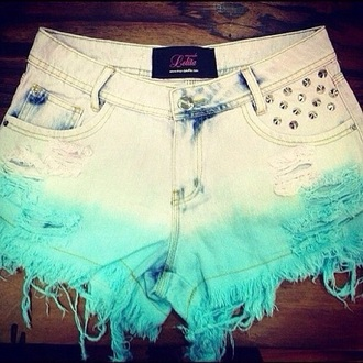 shorts dip dye high waisted shorts