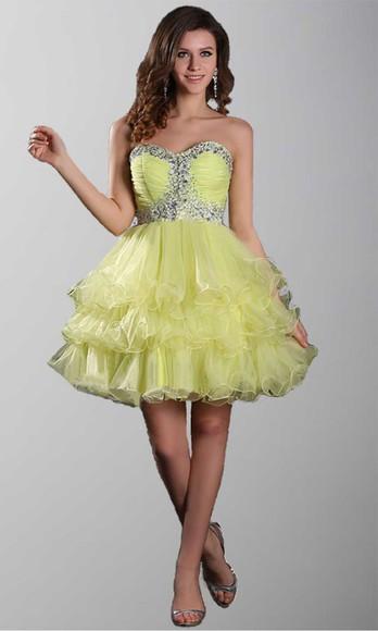yellow dress short prom dress short party dresses prom gown layers skirt empire waist vintage dress