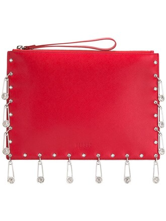 women embellished clutch leather red bag