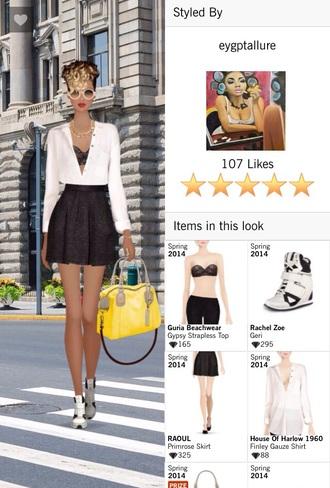 bag shirt bra skirt sneakers jewels sunglasses blouse shoes
