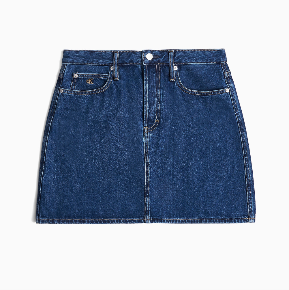 Blue Denim High Rise Mini Skirt