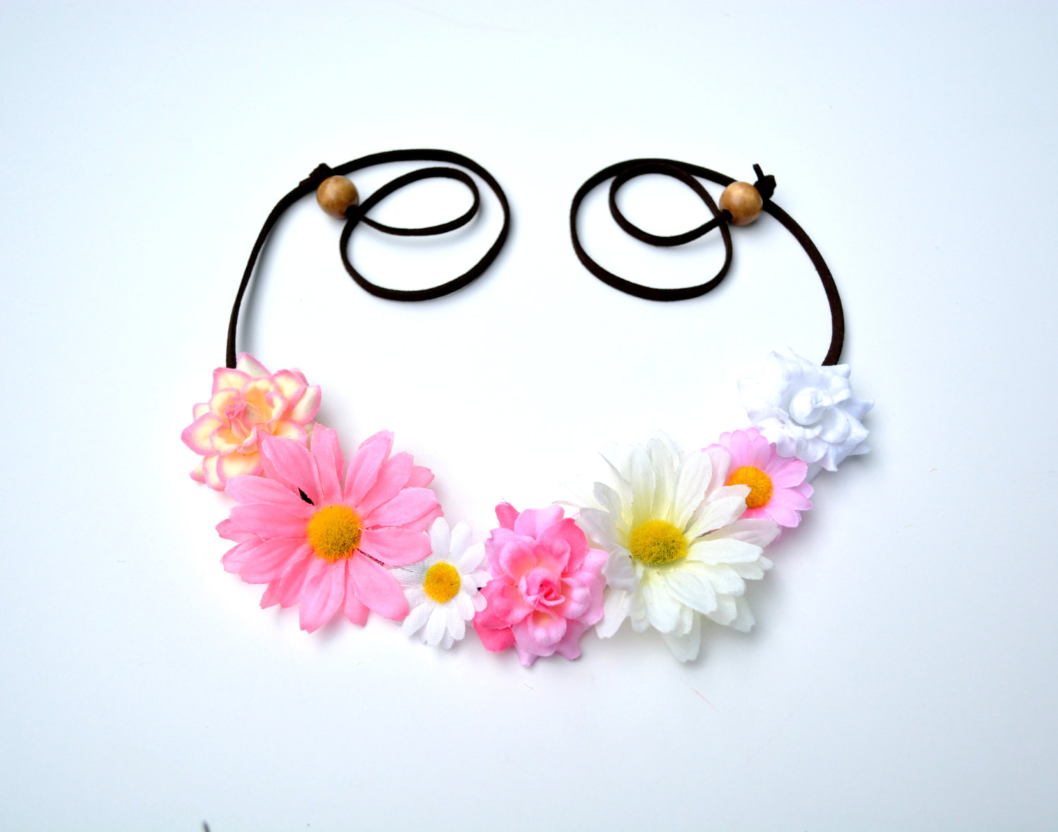 Yellow and Pink Flower Headband Daisy and Rose Flower Crown Wildflower Mix Fl