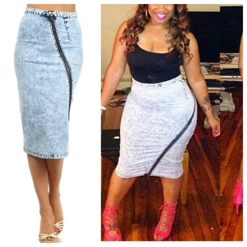 Acid Wash Midi Skirt With Long Zipper