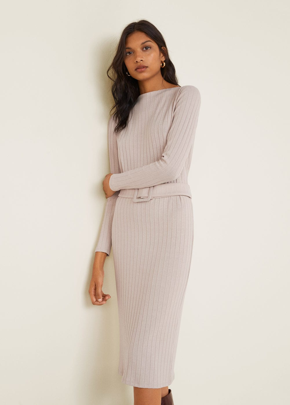 Belt ribbed dress - Women | Mango United Kingdom