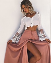 skirt,crop tops,white blouse,blouse,combo,duo,boho,button up maxi,long maxi skirt,white crop tops,top,over the shoulders