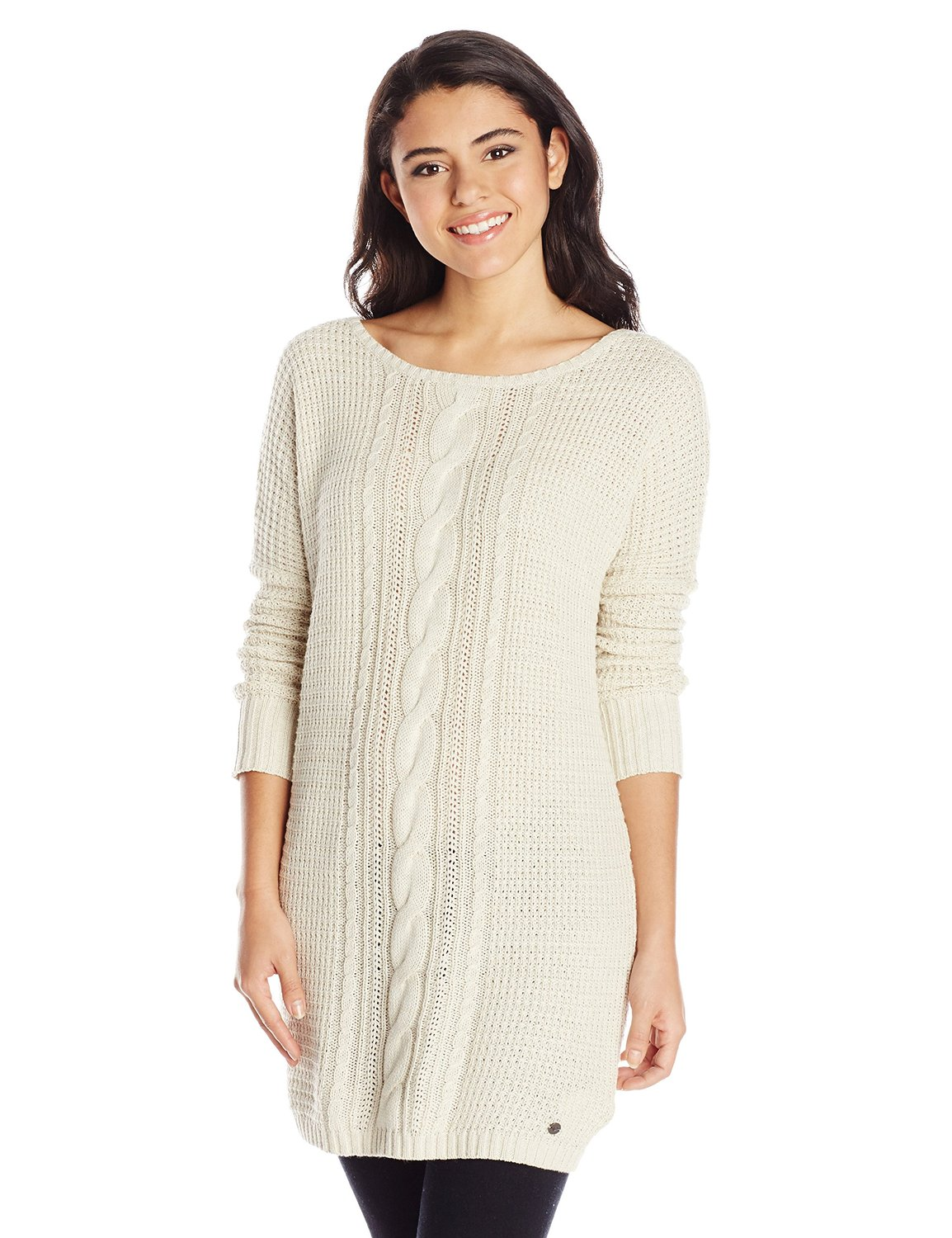 Roxy juniors shifting seas dolman sleeve cable knit sweater dress at amazon women's clothing store: