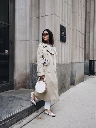 bag handbag white bag coat camel coat shoes flats round bag trench coat